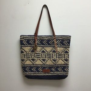 Lucky Brand Blue Beige Woven Straw tote bag purse
